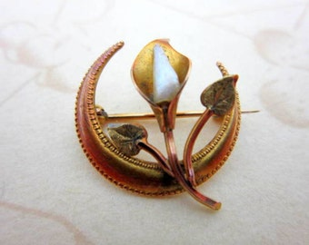 CLEARANCE SALE 14k Victorian rose gold pearl crescent moon and calla lilly brooch with C clasp - authentic 1800's 585 gold pin