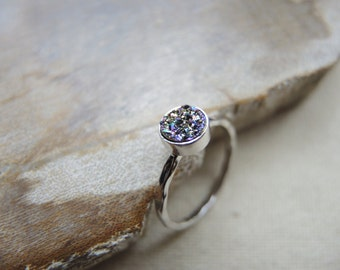 SALE, Peacock Druzy Ring, 925 Sterling Silver Bezel Ring 6mm, Druzy Stone Ring, Druzy Jewelry Gifts For Her, Peacock Druzy Titanium Coated