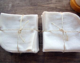 Organic Birdseye Cotton Dish Cloth, Wipe  Reusable Eco Friendly -- Set of 16, Choose Your Thread