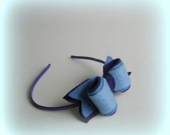 Dark blue headband Baby light blue Handmade hairband Blue Bow Accessories Girls bow accessory Felted hair band gift felted romantic adult