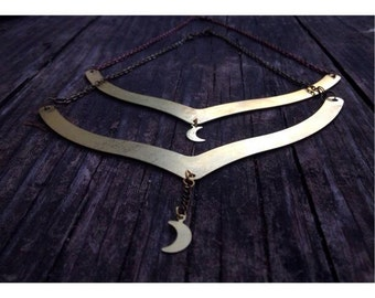 handcrafted raw brass crescent moon collar necklace.