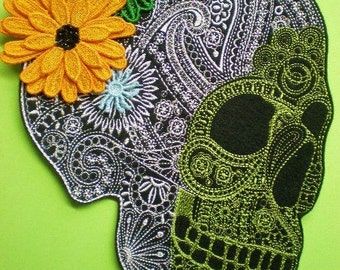 Extra Large Embroidered Sugar Skull with 3-D Flowers Applique Patch, Iron On Patch, Day of the Dead Sugar Skull, Dia de Los Muertos, Mexico