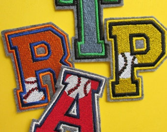 embroidered 3 inch baseball monogram letters team letters school colors on letters iron on applique letters sew on applique letters