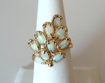 14k Genuine Australian Opal Ring Yellow Gold Vintage Fine Jewelry Opal Cluster Ring Size 8