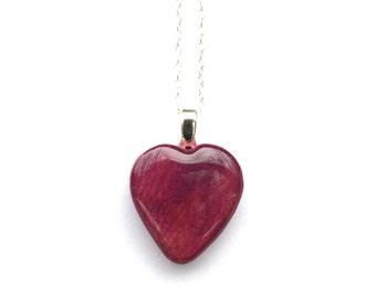 Cherry blossom wood heart necklace mom gift anniversary tiny heart jewelry Eco friendly tree branch  heart necklace Starlight Woods