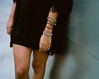 Black leather silver finish / Custom made ball chain friendship wrap stacking bracelet / Best friend gift BFF gender neutral unisex for him