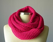 SALE, Women scarves, Cowl Scarf, hot pink winter - fall women accessories, chunky infinity cowl, knit scarf, infinity scarf