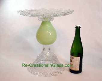 Gracious and elegant light green cake plate.  Wedding cake stand. Pedestal cake plate made with re-purposed glass. Dessert stand.