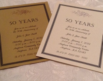 Gold 50th Anniversary Invitation