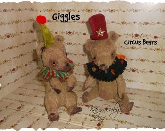 PDF EPattern  to make 8 inch or 5 inch (TWO PATTERNS) ' Giggles Circus Bears'  Vintage Style Viscose or  Mohair  by Artist KarynRuby