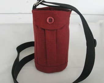 Water Bottle Holder Sling//Walkers Insulated Water Bottle Cross Body Bag// Hikers Water Bag-Rusty Red Fabric