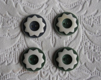 "Vintage Buttons - 4 Fancy Two Hole Buttons - White Flower Design on Green - 3/4"" Diameter"