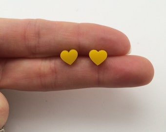 Small yellow Acrylic / perspex laser cut earrings heart studs