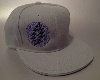 13 Point Flower of Life Fitted Hat made to order flat bill Grateful Dead sacred geometry FREE SHIPPING