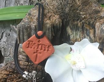 FAITH CROSS Terra cotta Essential Oil Diffuser Pendant for Aromatherapy Necklace