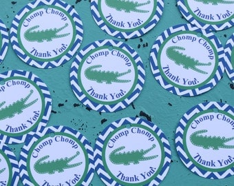 PREPPY CHEVRON ALLIGATOR Birthday Party Favor Tags or Stickers 12 {One Dozen} Blue Green