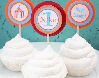 MOD CIRCUS Birthday or Baby Shower Cupcake Toppers 12 One Dozen - Party Packs Available