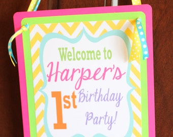 PREPPY CHEVRON Bright Colors Happy Birthday or Baby Shower Door Sign - Party Packs Available