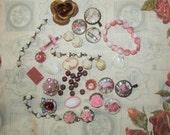 Pinks Destash Vintage Art Glass Beads Rosary Pcs.