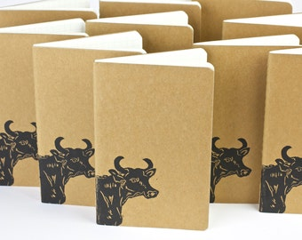 Steer at home on the range, small journal with inner pocket. Farm animals, bull, cow. Free gift tag. 牛 Travel journal. Notebook.