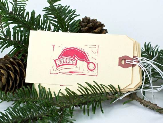 Santa Hat - St. Nicholas Hat - 5 or 10 Large Gift Tags - Christmas gift tag, present, gift wrap.
