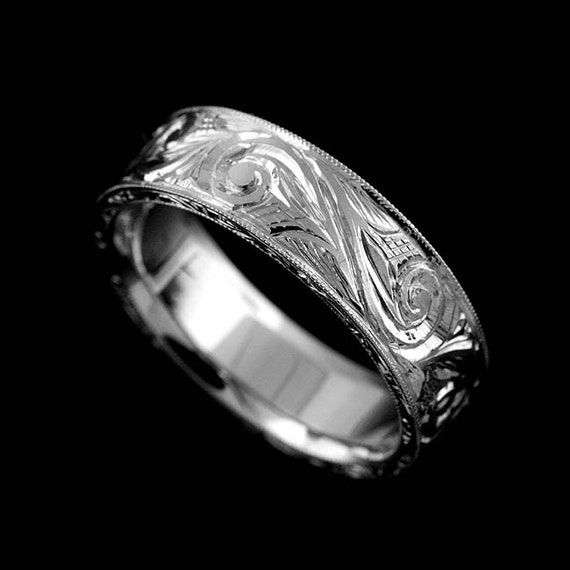 14K Solid White Gold Art Deco Style Hand Engraved And Milgrain Men's Comfort Fit  Wedding Band Ring 6mm Wide