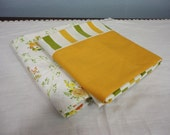 Mismatched Vintage Pillowcase Set - Gold and Olive Green Stripe & Floral by Cannon