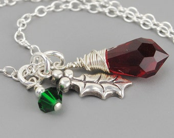 Silver Holly Necklace, Sterling Silver Charm Christmas Necklace, Green Red Swarovski Crystal Necklace, Holly Leaf Necklace