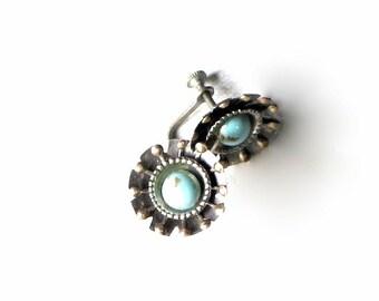 Turquoise Blue Silver Daisy Earrings Flowers Bohemian Hippie 80's Screw Back Earrings