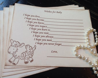 Gender neutral wish cards-Wishes for baby-Lamb,Sheep-baby shower-fill in the blank game-set of 12