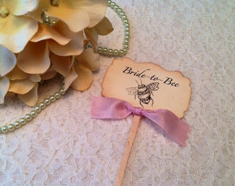 Bride to Bee Cupcake Toppers - Wedding Theme Bee Theme Picks Favors Buffet Picks- Bridal Luncheon Ideas