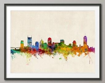 Nashville Skyline, Nashville Tennessee Cityscape Art Print (970)