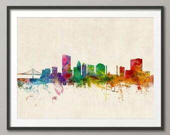 Toledo Skyline, Toledo Ohio Cityscape Art Print (1010)