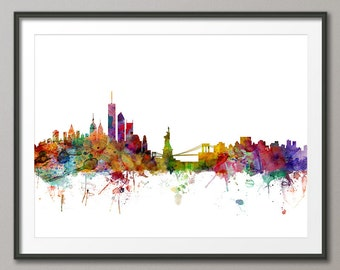 New York City Skyline, NYC Cityscape Art Print (906)
