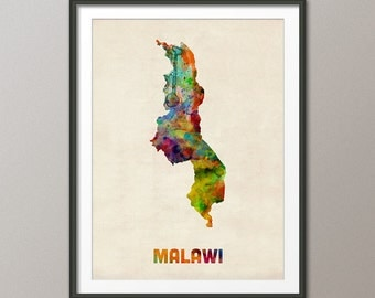 Malawi Watercolor Map, Art Print (1030)
