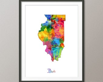 Illinois Map USA, Art Print (1185)