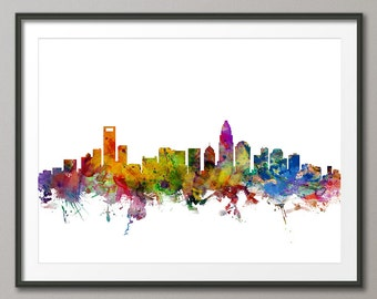 Charlotte Skyline, Charlotte North Carolina Cityscape Art Print (1227)