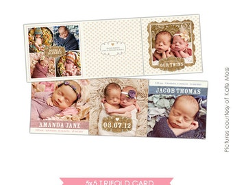 INSTANT DOWNLOAD - 5x5 Accordion card -Twins Birth Announcement - Doubly blessed- E356