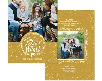 INSTANT DOWNLOAD - Christmas Card Photoshop template - E1084