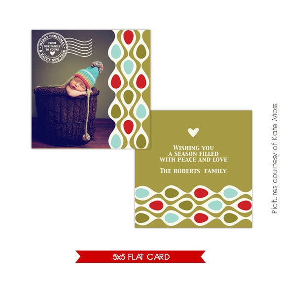 Photoshop Holiday Card Template - Retro Christmas - E135
