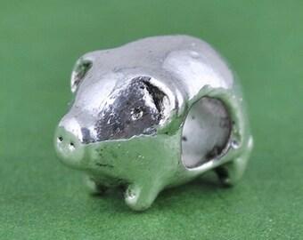 European Pig Charm 1 Bead Antique Silver Tone 13 x 8 mm - ec011
