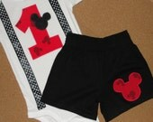 Mickey Mouse 1st Birthday Shorts Outfit Mickey Print with Suspenders Bodysuit and Pants Set  for Baby Boy Birthday Party Outfit