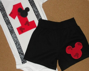 READY TO SHIP! Mickey Mouse 1st Birthday Shorts Outfit Mickey Print with Suspenders Bodysuit for Baby Boy Birthday Party Outfit
