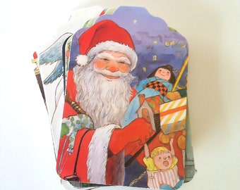 CHRISTMAS TAGS - 45 Gift Tags, Around the World, Children, Holiday, Vintage Book Pages, Supply, Scrapbook, Decoration, Party,