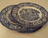 Vintage Staffordshire Ironstone 3 Liberty Blue Bread & Butter Plates