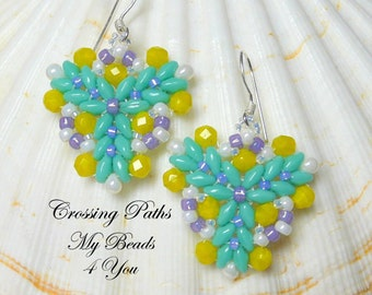 SuperDuo Earrings, Beadwork Earrings, Beadwoven Earrings, Beaded Earrings, SuperDuo Beads,Mothers Day Gift,My Beads 4 You,Turquoise Earrings