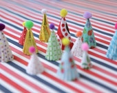 mini party hat cupcake toppers - brights