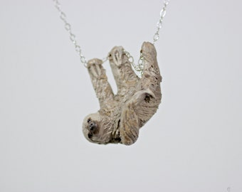Two-Toed Sloth Necklace, Made To Order - Sloth necklace, sloth jewelry, sloth pendant