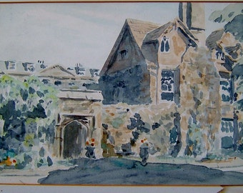 1960s Vintage Art OOAK Painting Vintage Watercolor Painting Vintage Landscape Painting of an Imposing Residence