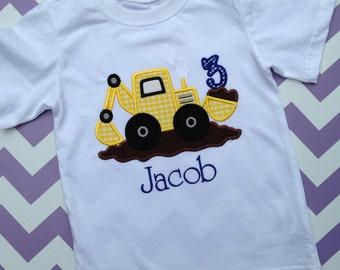 Boys Construction Digger Birthday Shirt or Onesie, Excavator Shirt, Construction Birthday Party Shirt